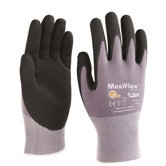 GLOVE MAXIFLEX ULTIMATE 34-874 PALM COATED KNITWRIST